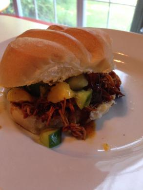 Caribbean jerk chicken sandwiches with mango-cucumber salsa that we made from the cucumbers in our garden - YUM!